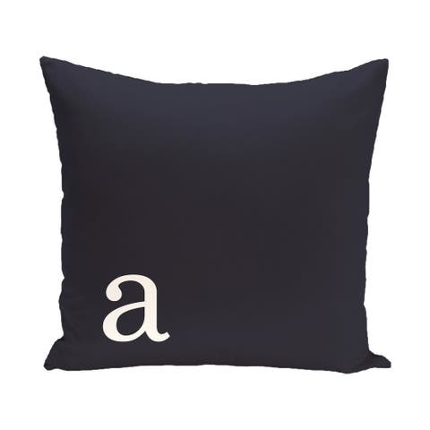 Black and White 26 x 26-inch Monogram Print Decorative Pillow