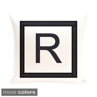 White and Black 20 x 20-inch Monogram Print Decorative Pillow