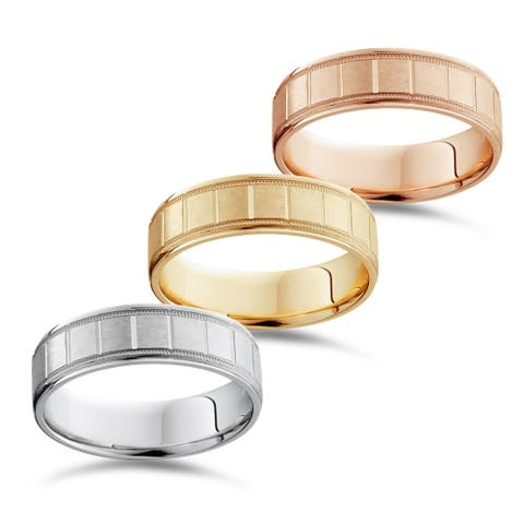 Bliss 14k White Yellow And Rose Gold Men's 6mm Brushed comfort Fit Wedding Band