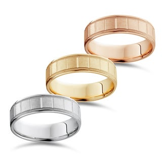 Link to Bliss 14k White Yellow And Rose Gold Men's 6mm Brushed comfort Fit Wedding Band Similar Items in Rings