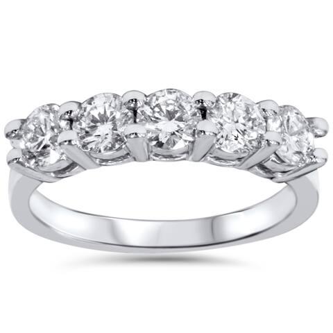 14k White Gold 1 1/4ct TDW Five Stone Diamond Wedding Ring