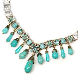 Sweet Romance SilverTurquoise Vintage Fringe Southwest Aqua Bead Necklace