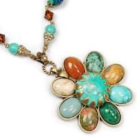 Sweet Romance Gemstone Desert Flower Rustic Necklace