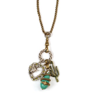 Sweet Romance Country Western Turquoise Southwest Charm Necklace