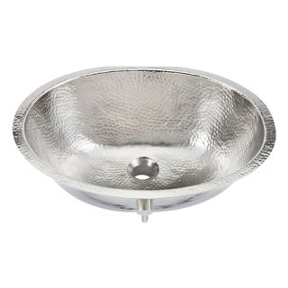 "Sinkology Pavlov 19.25"" Oval Hand-crafted Bath Sink in Hammered Nickel"