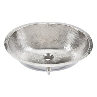 "Sinkology Pavlov 19.25"" Oval Hand-crafted Bath Sink in Hammered Nickel"
