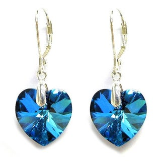 Queenberry Sterling Silver Dangle Earrings with Faceted Heart Crystal in Bermuda Ocean Blue Color