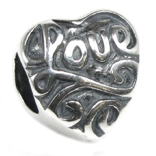 Queenberry Sterling Silver Love Heart European Bead Charm