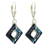 Queenberry Sterling Silver 1.5 inches Dangle Earrings with Bermuda Blue Square Shaped Crystal