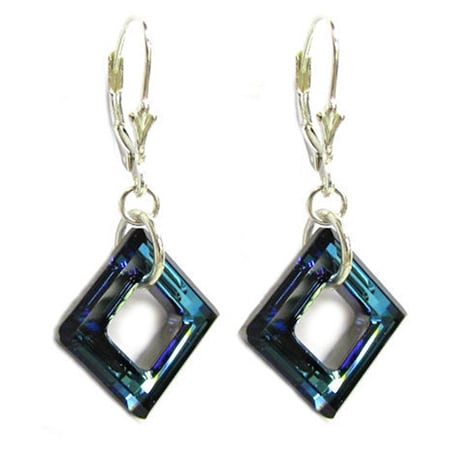 Shop Queenberry Sterling Silver 1.5 inches Dangle Earrings with Bermuda  Blue Square Shaped Crystal - Free Shipping On Orders Over  45 -  Overstock.com - ... bbea1338c889
