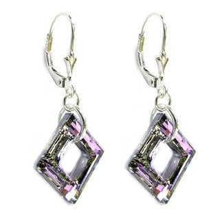 Queenberry Sterling Silver Vitrial Light Purple Square Shaped Crystal Dangle Earrings