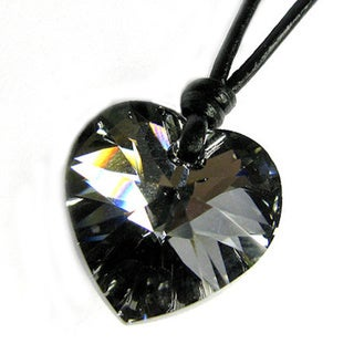 Queenberry Crystal Silver Night Heart Charm Pendant with Black Leather 1mm Adjustable Necklace