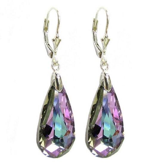 Queenberry Sterling Silver Vitrial Light Purple Teardrop Crystal Dangle Earring