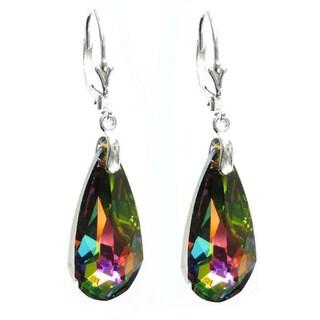 Queenberry Sterling Silver Vitrail Medium Teardrop Crystal Dangle Earring