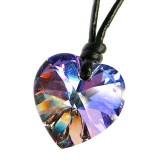 Queenberry Crystal Vitrail Light Heart Charm Pendant with Black Leather 1mm Adjustable Necklace