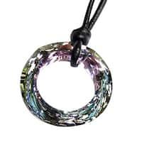Crystal Vitrail Light Twist Angel Ring Charm Pendant with Black Leather 1mm Adjustable Ne