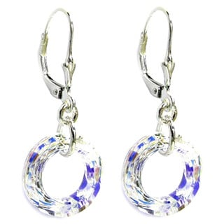 Queenberry Round Ring Clear AB Crystal with Sterling Silver Dangle Earring
