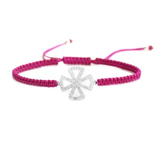 Queenberry Sterling Silver Cubic Zirconia Cross Rose Pink Hand-braided Adjustable Cord Bracelet
