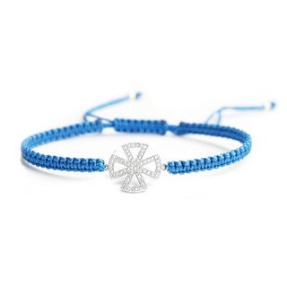 Queenberry Sterling Silver Cubic Zirconia Cross Capri Blue Hand-braided Adjustable Cord Bracelet