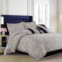 Tribeca Living Fiji 5-piece Printed Cotton Paisley Multi-color Duvet Cover Set