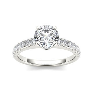 De Couer 14k White Gold 1 1 2ct TDW Diamond Classic Engagement Ring White H I