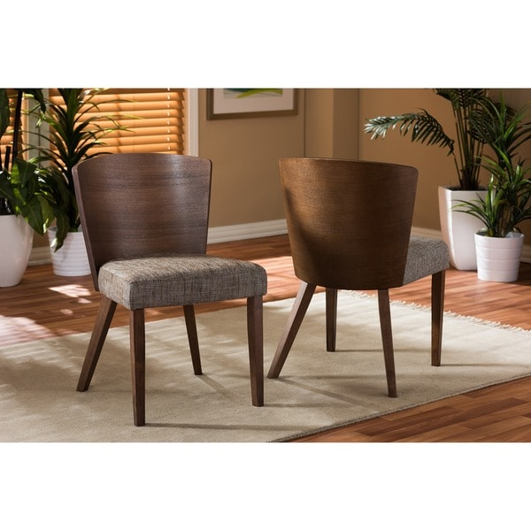 Baxton studio sparrow brown wood and khaki fabric modern for Contemporary fabric dining chairs