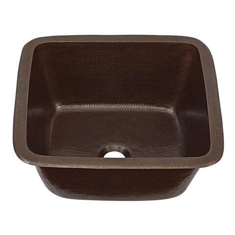"Sinkology Greco Dual Mount Handmade Pure Solid 15"" Prep Bar Sink - Black"