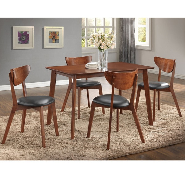 Sumner Mid Century Style Walnut 5 Piece Dining Set