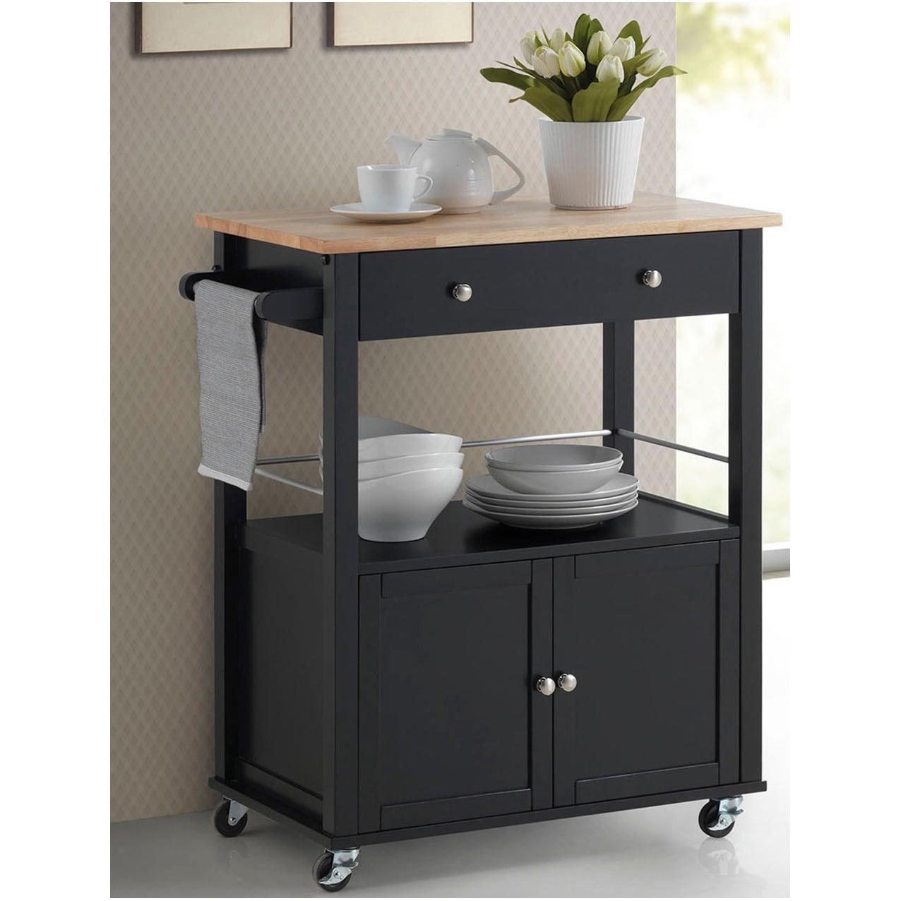 Shop Simple Living Rolling Galvin Microwave Cart: Shop Baxton Studio Denton Contemporary Black Kitchen Cart