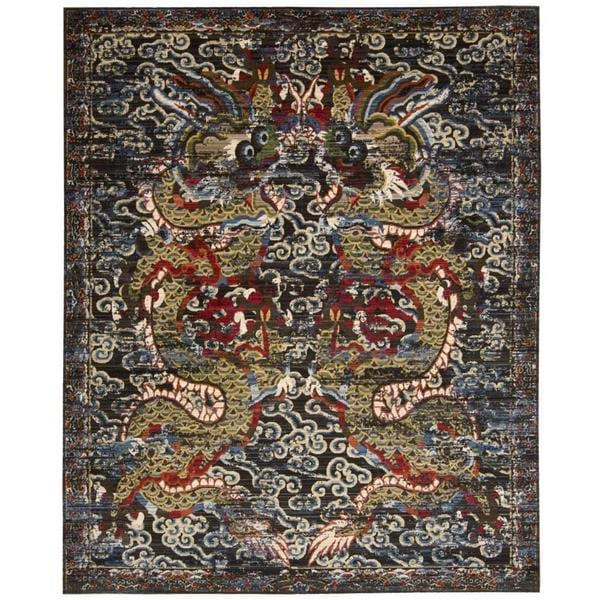 "Barclay Butera Dynasty Empress Midnight Area Rug by Nourison - 5'6"" x 8'"