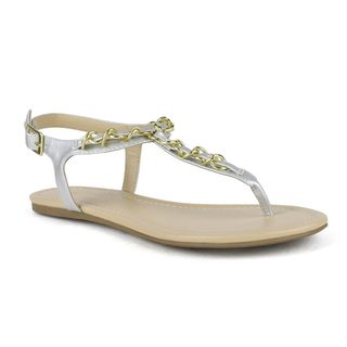 Mark and Maddux Women's Brandon-03 Chained T-Strap Sandals