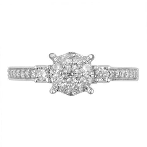 Divina 10k White Gold 5/8ct TDW Diamond Unity Ring