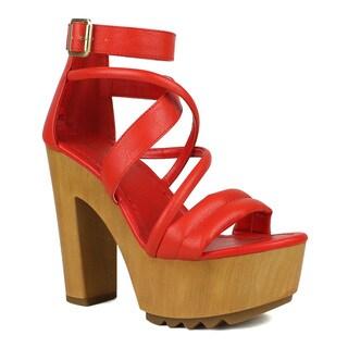Mark and Maddux Women's Benjamin-10 Strappy Lug Sole Platform High Heel
