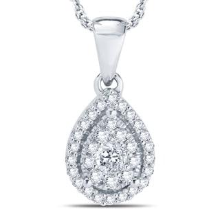 Divina 10k White Gold 1/4ct TDW Unity Diamond Pendant (H-I, I1-I2)