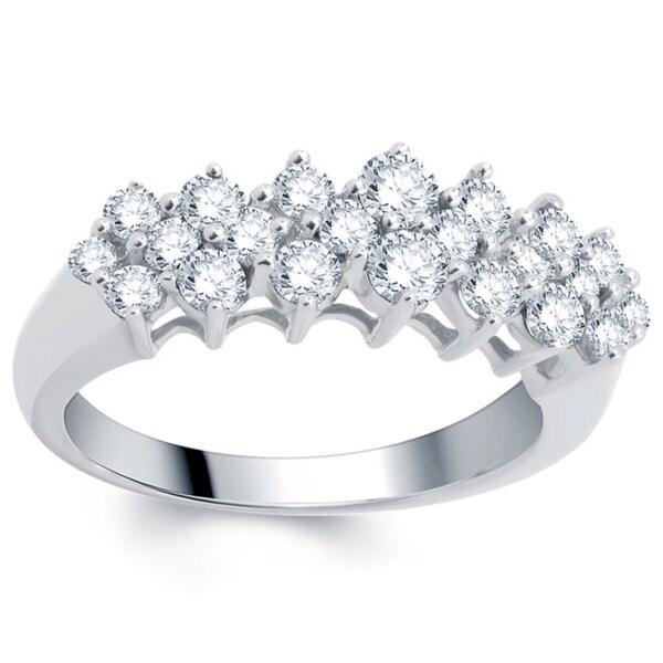 ffc763aaaab82 Shop Divina 14k White Gold 1ct TDW Diamond Pyramid Ring - Free ...