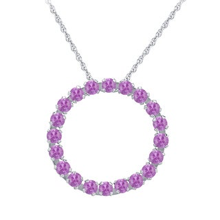 Divina 10k White Gold Created Pink Sapphire Circle Pendant
