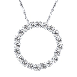 Divina 10k White Gold Aquamarine Gemstone Circle Pendant