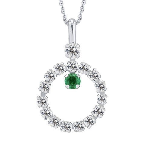 Divina 10k Yellow Gold Emerald and White Topaz gemstone Circle Pendant - n/a