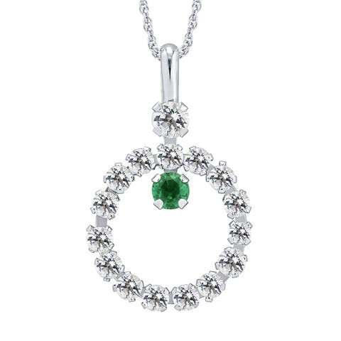 Divina 10k Yellow Gold Emerald and White Topaz gemstone Circle Pendant