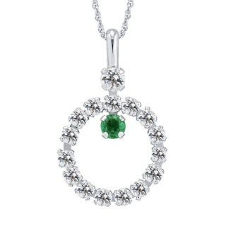 Divina 10k Yellow Gold Emerald and White Topaz gemstone Circle Pendant