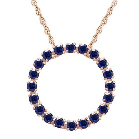 Divina 10k Pink Gold Blue Sapphire Circle Pendant