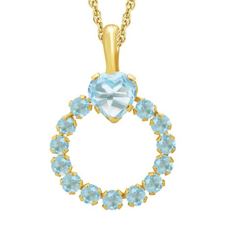 Divina 10k Yellow Gold Blue Topaz Gemstone Heart Circle Pendant - n/a