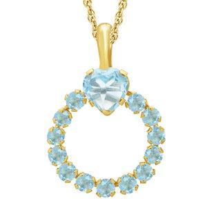 Divina 10k Yellow Gold Blue Topaz Gemstone Heart Circle Pendant