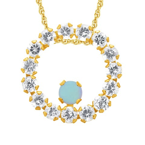 Divina 10k Yellow Gold Opal Gemstone and White Topaz Circle Pendant