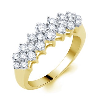 Divina 14k Yellow Gold 1ct TDW Diamond Pyramid Ring