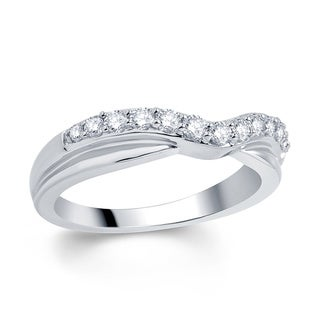 18k White Gold 3/8ct TDW Diamond Contour Band