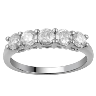 Divina 10k White Gold 1ct TDW Diamond 5-stone Band