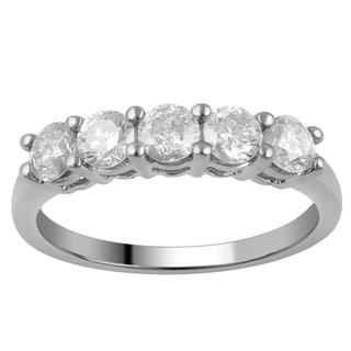 Divina 10k White Gold 1ct TDW Diamond 5-stone Band
