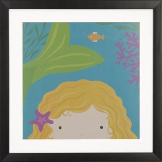 Peek a Boo Mermaid Children's Framed Art Print