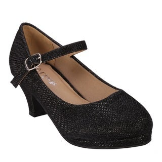 Coshare Forever Kid's Dana-64K Netted Glitter PU Mary-jane Low Top Dress Pumps